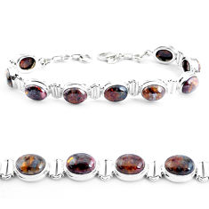 925 silver 37.79cts natural brown pietersite (african) tennis bracelet p40020