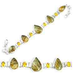 925 silver 55.25cts natural golden rutile citrine tennis bracelet p69704