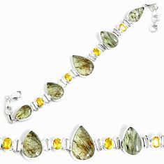 925 silver 52.54cts natural golden rutile yellow citrine tennis bracelet p69708