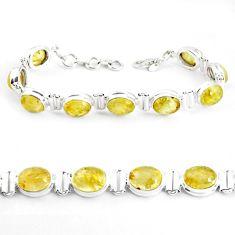 925 silver 38.31cts natural golden tourmaline rutile tennis bracelet p39047