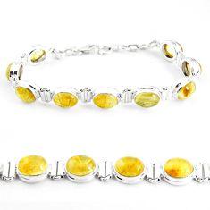 925 silver 39.01cts natural golden tourmaline rutile tennis bracelet p39056