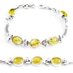 925 silver 21.39cts natural golden tourmaline rutile tennis bracelet p54773