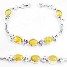 925 silver 22.54cts natural golden tourmaline rutile tennis bracelet p54777