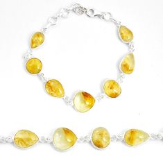 925 silver 31.56cts natural golden tourmaline rutile tennis bracelet p54820