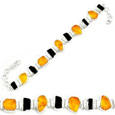 925 silver 36.96cts natural green amber from colombia tennis bracelet p35624