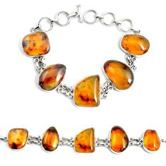 925 silver 51.02cts natural green amber from colombia tennis bracelet p46013