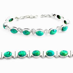 925 silver 27.64cts natural green chrysocolla oval tennis bracelet p70724