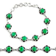 925 silver 19.04cts natural green emerald tennis bracelet jewelry p68064
