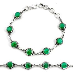 925 silver 18.04cts natural green emerald tennis bracelet jewelry p68073