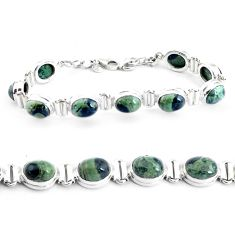 925 silver 39.48cts natural green kambaba jasper tennis bracelet jewelry p40045