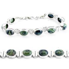 925 silver 36.99cts natural green kambaba jasper tennis bracelet p40052