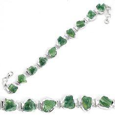 925 silver 46.07cts natural green moldavite fancy tennis bracelet p34540