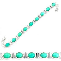 925 silver 42.29cts natural green peruvian amazonite oval tennis bracelet p70627