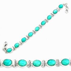 925 silver 41.86cts natural green peruvian amazonite tennis bracelet p70624