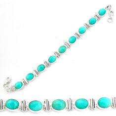 925 silver 39.69cts natural green peruvian amazonite tennis bracelet p70630