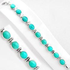 925 silver 37.97cts natural green peruvian amazonite tennis bracelet p89032
