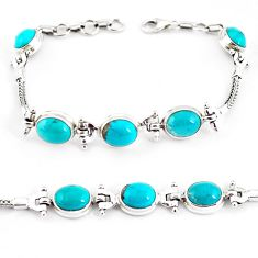 925 silver 20.80cts natural green turquoise tibetan tennis bracelet p54799