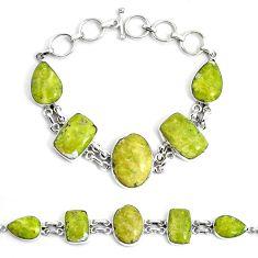 925 silver 56.33cts natural lizardite (meditation stone) tennis bracelet p46030