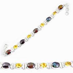 925 silver 27.03cts natural multi color ammolite citrine tennis bracelet p64392