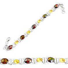 925 silver 26.84cts natural multi color ammolite citrine tennis bracelet p64400