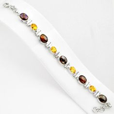 925 silver 28.83cts natural multi color ammolite citrine tennis bracelet p80464