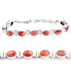 925 silver 30.65cts natural multi color brecciated jasper tennis bracelet p40057