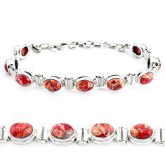 925 silver 30.41cts natural multi color brecciated jasper tennis bracelet p40060