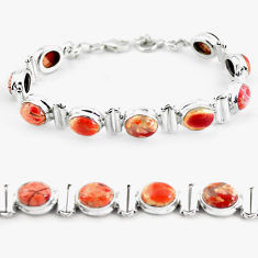 925 silver 30.43cts natural multi color brecciated jasper tennis bracelet p64488