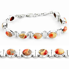 925 silver 29.22cts natural multi color brecciated jasper tennis bracelet p64493