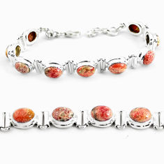 925 silver 29.84cts natural multi color brecciated jasper tennis bracelet p64496