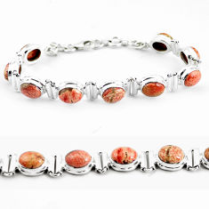 925 silver 29.84cts natural multi color brecciated jasper tennis bracelet p64498