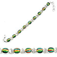 925 silver 37.43cts natural multi color rainbow calsilica tennis bracelet p70644