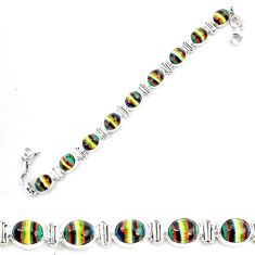925 silver 35.81cts natural multi color rainbow calsilica tennis bracelet p70648
