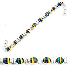 925 silver 36.26cts natural multi color rainbow calsilica tennis bracelet p70653