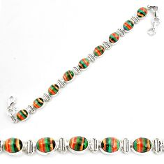 925 silver 36.26cts natural multi color rainbow calsilica tennis bracelet p70657