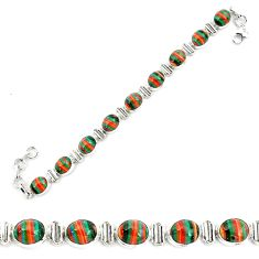 925 silver 36.26cts natural multi color rainbow calsilica tennis bracelet p70660
