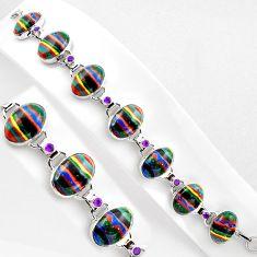 925 silver 50.08cts natural multi color rainbow calsilica tennis bracelet p89059