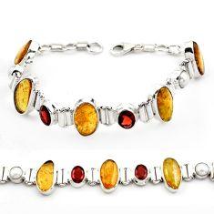 925 silver 42.48cts natural multi color tourmaline red garnet bracelet p76723