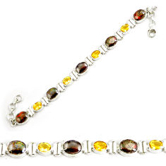 925 silver 29.90cts natural multicolor ammolite oval tennis bracelet p64385