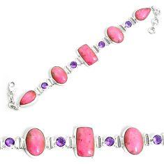 925 silver 61.20cts natural pink petalite purple amethyst tennis bracelet p69713