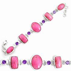 925 silver 64.23cts natural pink petalite purple amethyst tennis bracelet p69717