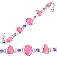 925 silver 56.20cts natural pink petalite purple amethyst tennis bracelet p69719