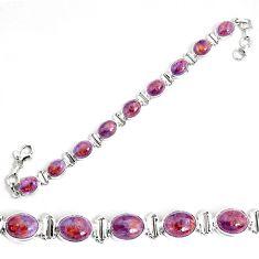 925 silver 37.44cts natural purple cacoxenite super seven tennis bracelet p34508