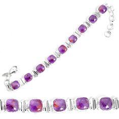 925 silver 27.23cts natural purple cacoxenite super seven tennis bracelet p34515