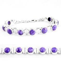 925 silver 29.54cts natural purple charoite (siberian) tennis bracelet p65095