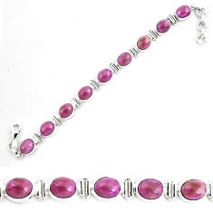 925 silver 36.97cts natural purple phosphosiderite tennis bracelet p70672