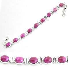 925 silver 36.59cts natural purple phosphosiderite tennis bracelet p70674