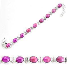 925 silver 36.59cts natural purple phosphosiderite tennis bracelet p70676