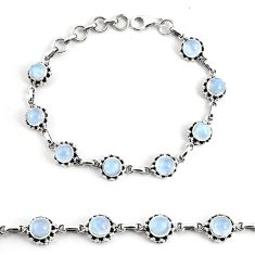 925 silver 10.61cts natural rainbow moonstone tennis bracelet jewelry p68015