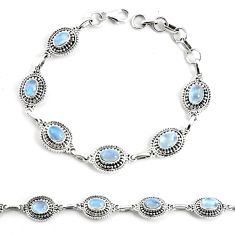 925 silver 9.72cts natural rainbow moonstone tennis bracelet jewelry p68019